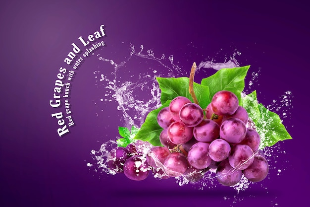 Water splashing on fresh red grapes over red background.