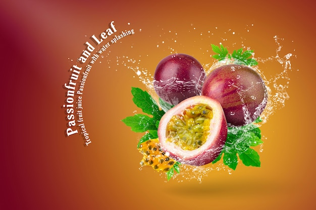Water splashing of passion fruit on red background