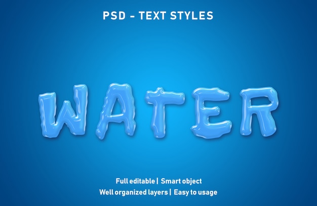 Water text effects style editable psd