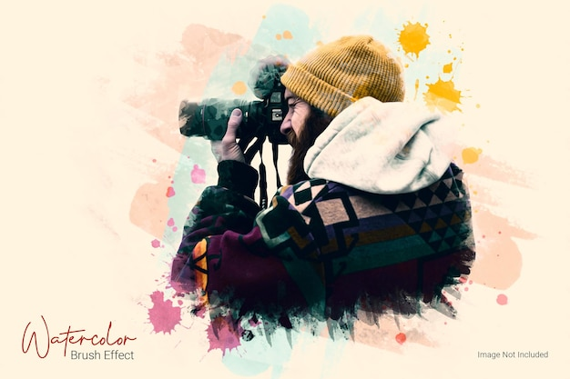 수채화 브러시 그림 사진 효과 템플릿