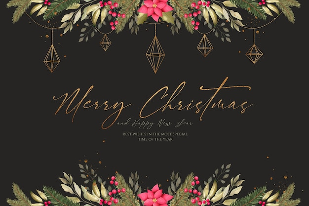 Watercolor christmas background with beautiful decoration