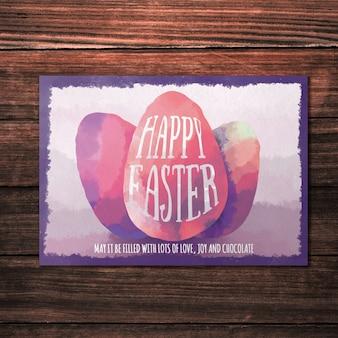 Watercolor easter greeting card mockup