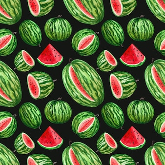 Watercolor endless pattern with watermelons