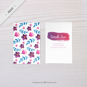 Watercolor floral business card mockup