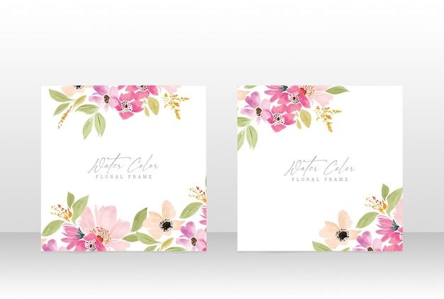 Watercolor floral feminine wedding invite botanical frame card
