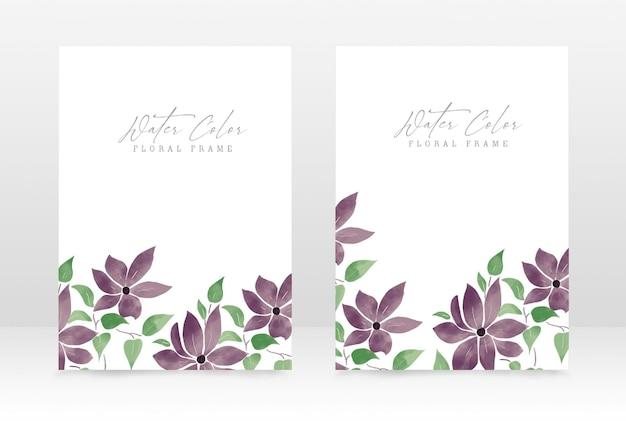 수채화 꽃 손으로 그린 꽃 결혼식과 파티 초대 디자인