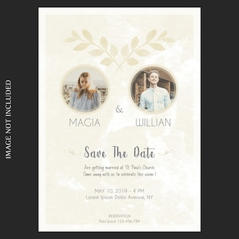 Watercolor floral wedding and invitation card template