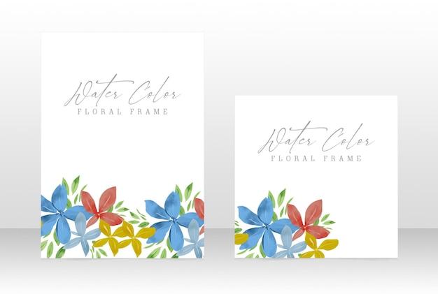 Watercolor floral wedding invite botanical frame card