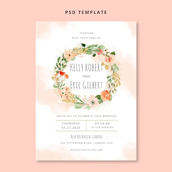 Watercolor floral wreath wedding invitation card
