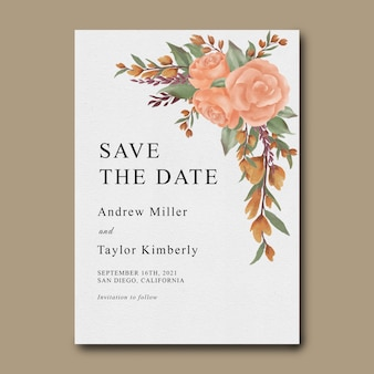 Watercolor flower save the date template