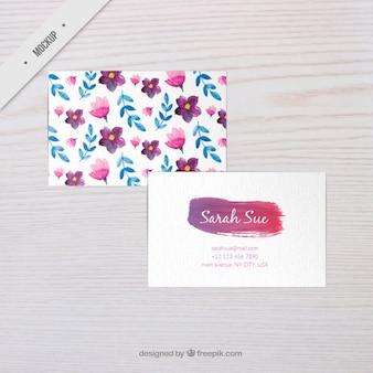 Watercolor flowers corporative card mockup