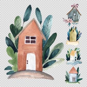 Акварельные иллюстрации домов с цветами и листьями