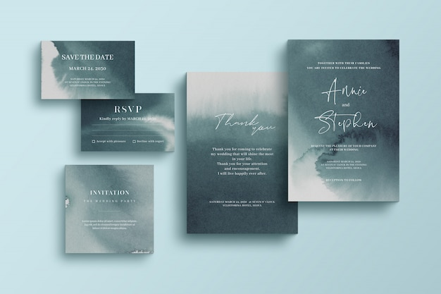 Watercolor invitation template, wedding stationery set