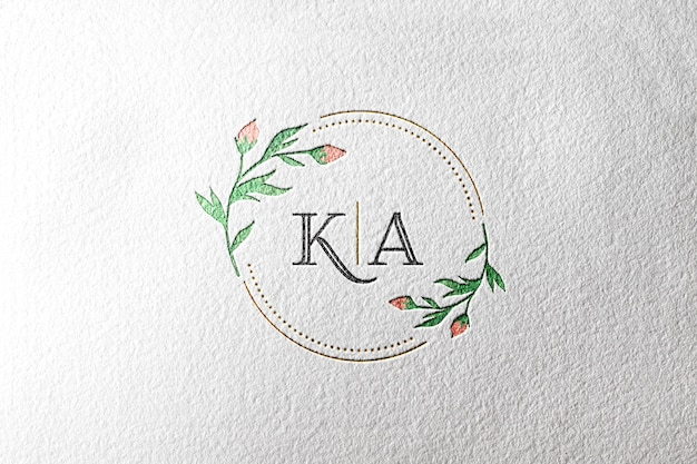 Watercolor logo mockup paper