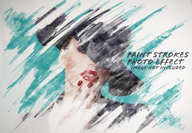水彩絵の具ストローク写真効果モックアップ