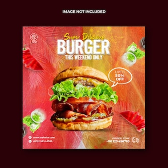 Instagram 및 squire burger 프로모션 웹 배너를 위한 수채화 그림 음식 소셜 미디어 게시물
