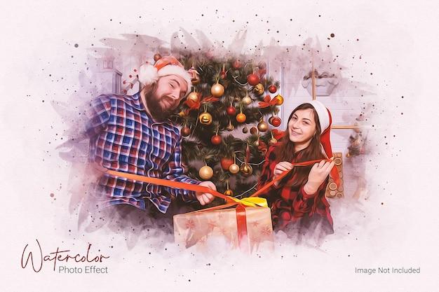 Фотоэффект акварельная живопись и рождественский фотоэффект