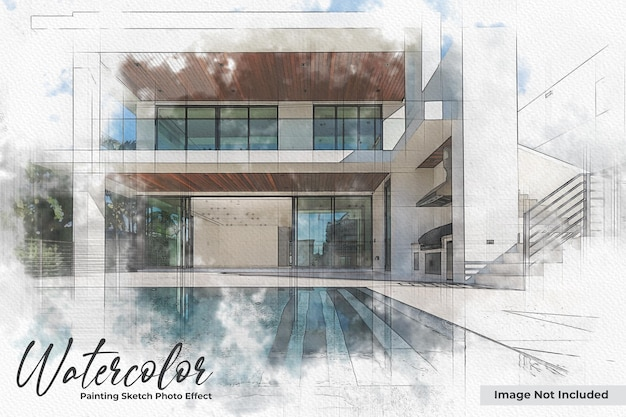 Watercolor painting sketch photo effect