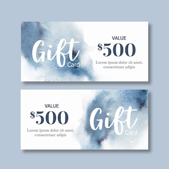 Watercolor splash brush voucher template