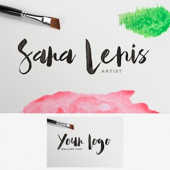 Watercolor stained logo mock up