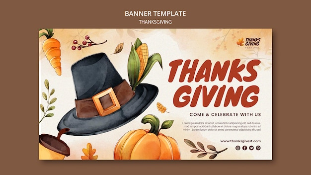 Modello di banner orizzontale del ringraziamento dell'acquerello