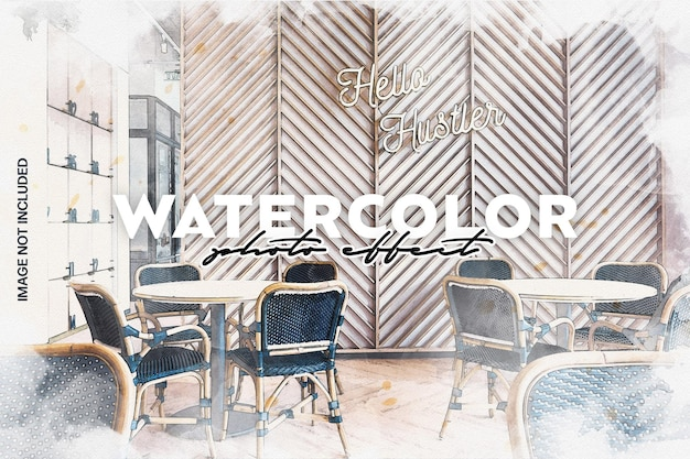 Watercolor vintage photo effect template