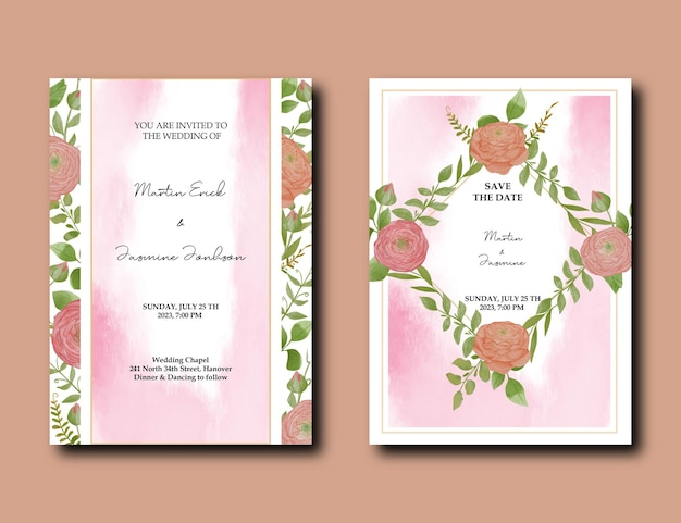 Шаблон акварельного свадебного приглашения с украшением из цветов и листьев пиона