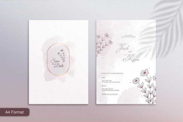 植物と水彩の結婚式の招待状