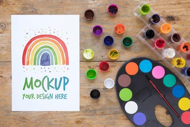 Watercolors set on desk