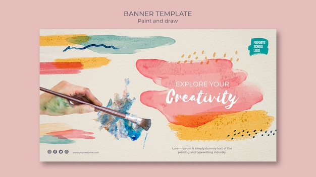 Watercolour and brushes banner template