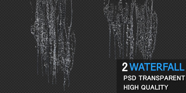 Waterfall with droplets isolated design premium psd