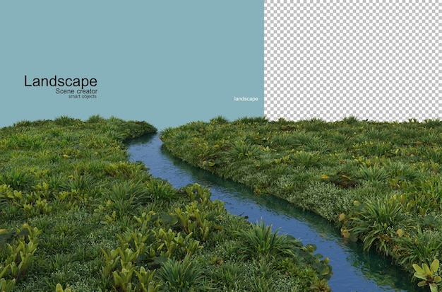Waterfront plant landscape arrangement rendering