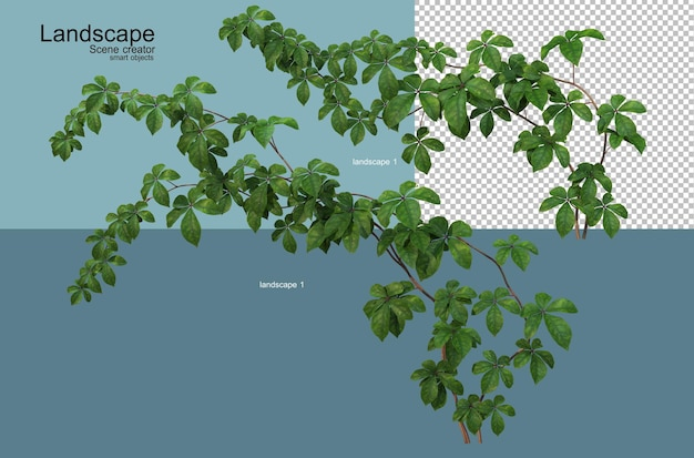Waterfront plant landscape arrangement rendering