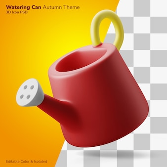 Watering can 3d illustration rendering 3d icon editable isolated