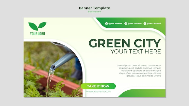 Watering the seedlings banner template
