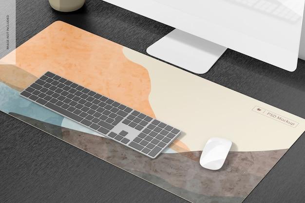 Waterproof desk mat mockup, right view