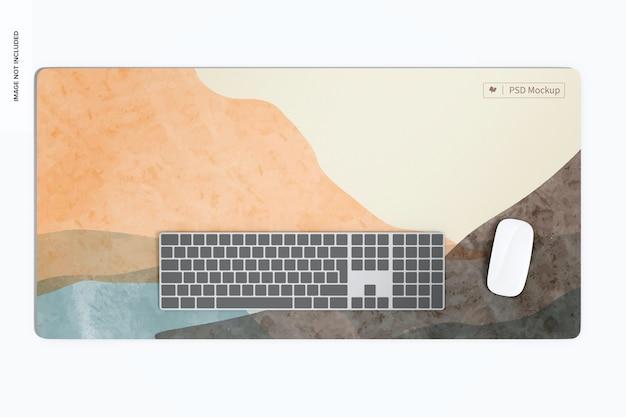 Waterproof desk mat mockup, top view