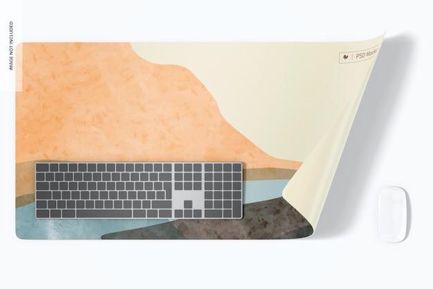 Waterproof desk mat mockup