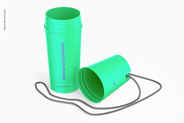Waterproof dry container bottle mockup, opened