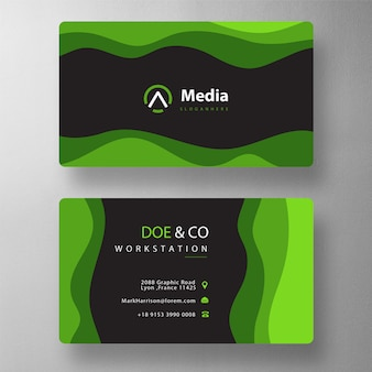 Wave shape visit card