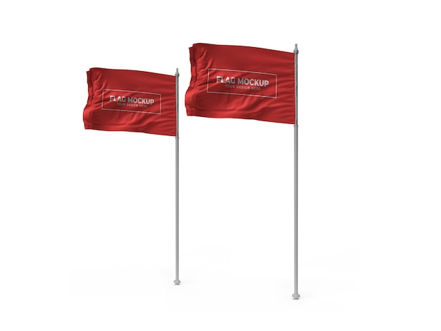 Waving flag 3d mockup design