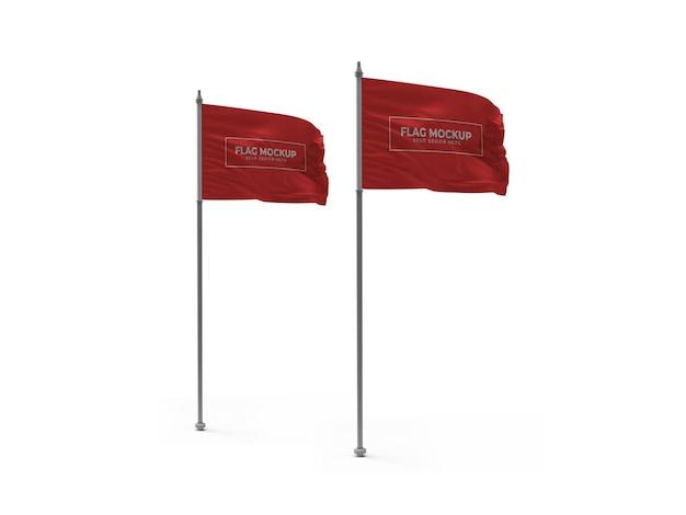 Waving flag 3d mockup isolated