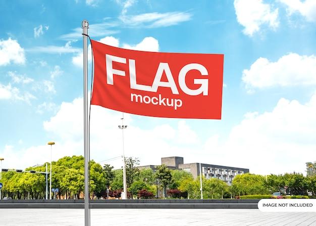 Макет развевающегося флага с редактируемым фоном