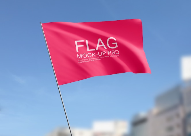 Waving flag mockup