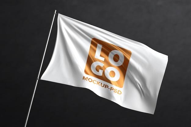 Waving flag mockup Premium Psd