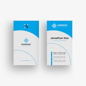 Wavy blue business card mockup