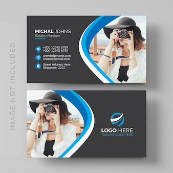 Wavy business card mockup with image