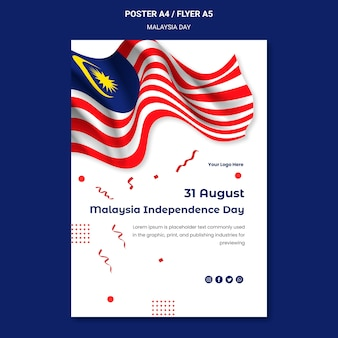 Wavy malaysian flag independence day flyer template