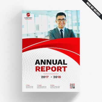 Wavy red annual report template