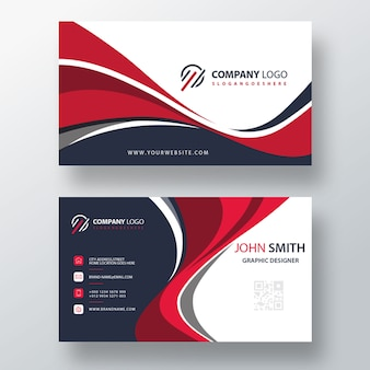 Wavy style business card template design